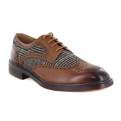 Justin Reece Vinny Mens Leather And Tweed 4-Eyelet Brogue Shoes - Brown