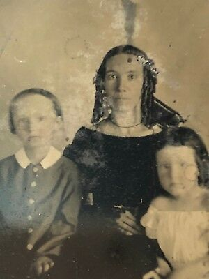 Mother and Children Tintype Antique Photograph Lace Gloves Creepy Prop Halloween