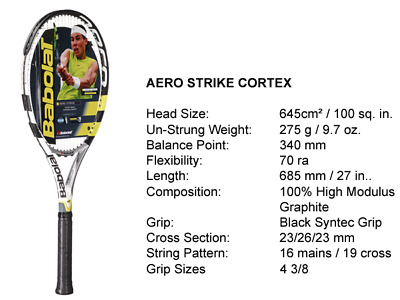 Babolat Aero Strike Tennis Racquet with 100sq. in. Head Size, 275g and 4-3/8in.