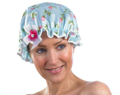 Pack Of 2 Floral Shower Caps - Keep Your Hair Dry In The Shower & Bath - New