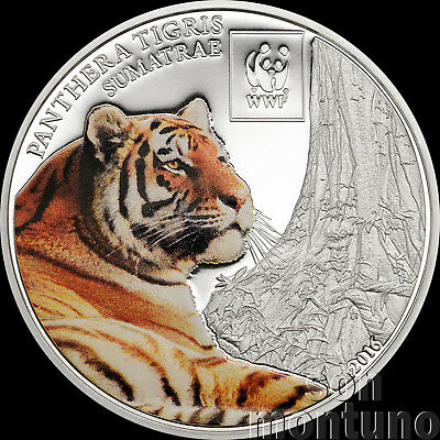 2016 Tanzania - SUMATRAN TIGER - Colorized Silver Plated COPPER Coin African WWF