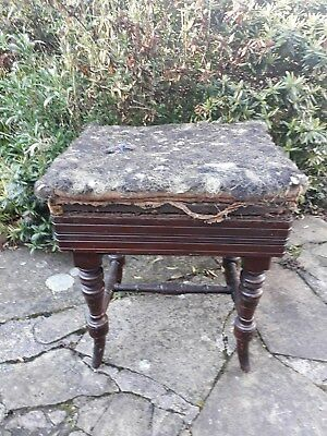 ANTIQUE ADJUSTABLE RISE AND FALL EBONISED MUSIC PIANO STOOL - Upholstery project