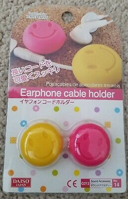 Earphone Cable Holder Cord Winder [Smiley Face] (set of 2) **FREE SHIPPING**
