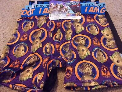 Guardians of the Galaxy 3 Pack Boys Athletic Boxer Briefs Groot Size 10 NWT