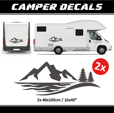 CAMPER VINYL STICKERS mauntains decals camping forest jeep wrangler trailer  car