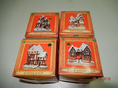 DAVID WINTER mini Christmas Cottage ornaments John Hine Studios Set of 4 set A