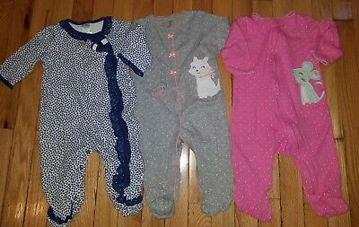 Baby Girl Clothes Sleepers Lot Of 3 Fall Winter 9 Months