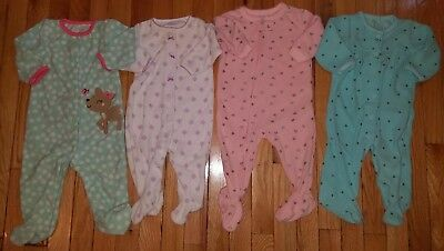 Baby Girl Clothes Lot Of 4 Sleepers Fall Winter Fleece Carter's 6 Month