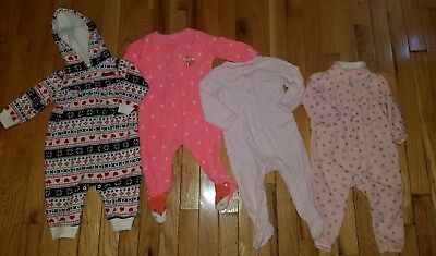 Baby Girl Clothes 6 Month Fall Winter Sleepers Fleece Outfits Lot Of 4