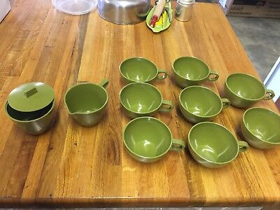 Vintage Allied Chemical Creamer,Sugar W Lid, 8Coffee Cups Avocado Green Melamine