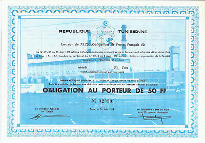 REPUBLIQUE TUNISIENNE 1969 Opligation au Porteur 50 FF Tunis Tunesien