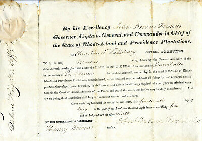 1835 Rhode Island Court Appointment Commission  Signed Governor John B. Francis