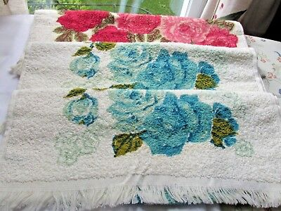 Three Rose  Design Vintage Cannon Hand Towels New without Pkg.