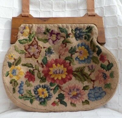 Vintage hand embroidered tapestry embroidery knitting purse bag handbag (VH21)