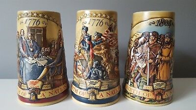 "3 Piece Lot ""Birth Of A Nation""  Miller High Life Genuine Draft Beer Steins"