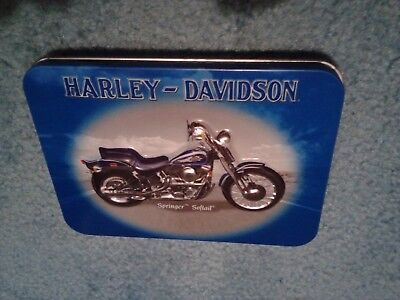 Harley-Davidson Springer Softail tin with deck of advertising playing cards 2001