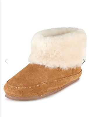 BNWT M&S Boys Tan Suede Shearling Slippers Slipper Boots Size UK 13