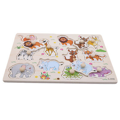 Wooden Matching Peg Puzzle Zoo Animals Jigsaw Puzzles Early Educational Toys LD
