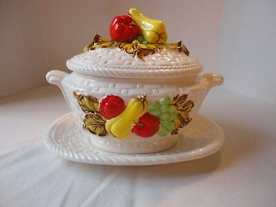 Vintage 1970's Ceramic Soup Tureen w/ Underplate Basket Weave w/Vegetable Design