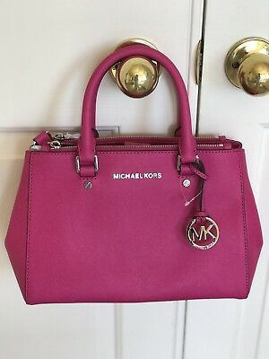 ffde28e87668 NWT Michael Kors Sutton Small Raspberry Pink Gold Saffiano Leather Satchel