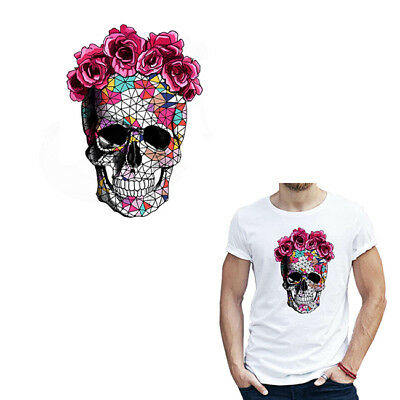 Thermal Transfer Rose Skeleton Applique Badge Clothes Patch Iron on Patches D