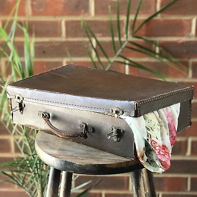 Antique Briefcase Suitcase Travelling Bag Brown  Box Cardboard England