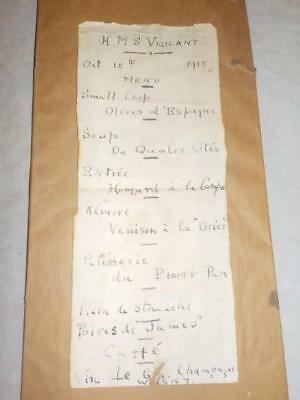 ORIGINAL WWI MANUSCRIPT MENU FROM HMS VIGILANT OCT. 12th 1915