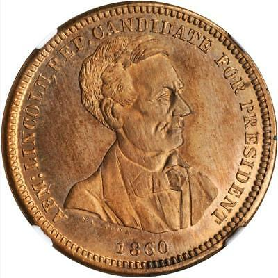 1860 Very Rare Abraham Lincoln Bell Mule Political Campaign Token NGC MS67 RB