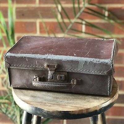 Antique Small Briefcase Suitcase Travelling Bag Brown Box England
