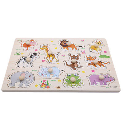 Wooden Matching Zoo Animals Jigsaw Puzzles Toys Kids Baby Educational Gift D