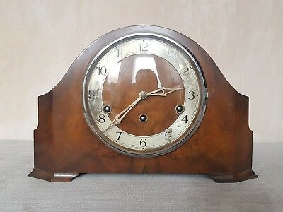 Art Deco Wooden Enfield Mantle Clock Westminster Chimes Working Vintage
