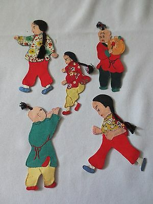 Set of 4 or 5 Vintage Asian Chinese Hand Made Sew On Appliques