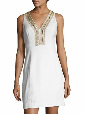4b7cd2b5d44b93 Lilly Pulitzer Eliot Shift Resort White Beaded Pique Cotton Dress 2; NWT  $238