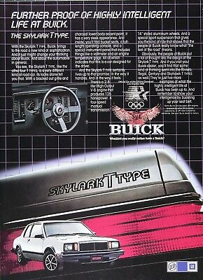 1983 BUICK SKYLARK T TYPE Genuine Vintage Advertisement ~ 2.8L 135hp HO V-6