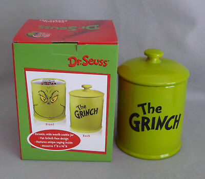 Dr Seuss Grinch Cookie Jar & Cover Ceramic Wide Mouth NIB