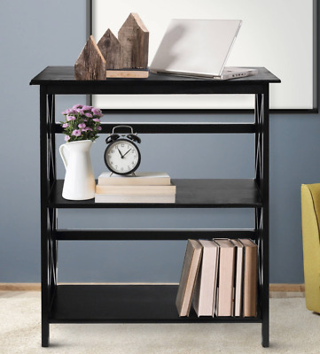 Short Wide Bookcase Three Shelf Tier Bookshelf Black Small Home Office Furniture