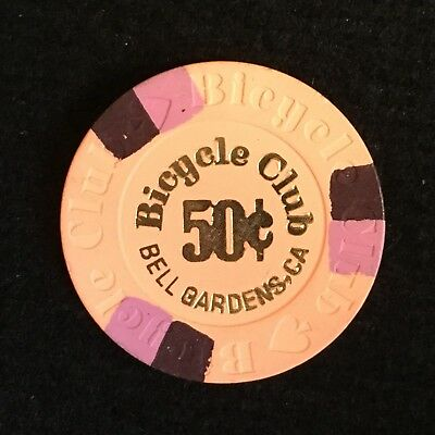 Bicycle Club Casino - California $.50 Casino Chip / THE CHIP IS SALMON COLORED