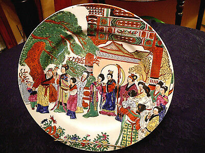 VINTAGE Signed CHINESE Polychrome PORCELAIN PLATE HANDPAINTED 15 Characters/26cm