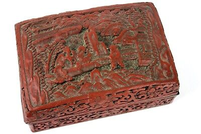 Chinese Cinnabar Red Lacquer Lidded Wooden Box Cover Carved Figures 6 Character