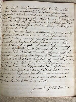 Rare 1870s Historical Handwritten Journal Government Meeting Lewistown PA