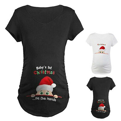 Mommy Funny Baby's 1st Christmas On The Inside Maternity Pregnancy T-shirts Tops
