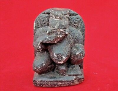 1750's OLD ANTIQUE HAND CARVED BLACK STONE LORD GANESHA FIGURE/STATUE  011