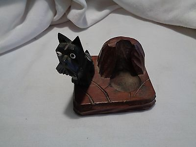 Vintage Black Forest style carved Scottie Scotty wooden pipe rest glass eyes