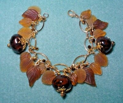 Vintage Frosted Glass Fall Leaf Charm Style Bracelet Gold Plate Crystal Ceramic