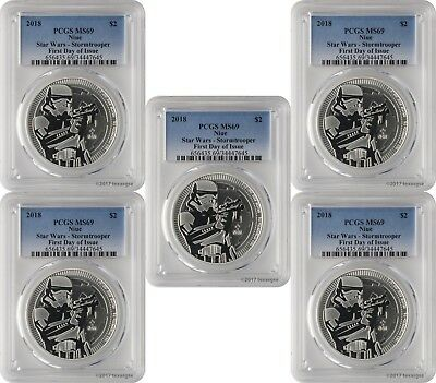 2018 $2 Niue Star Wars Stormtrooper 1oz .999 Silver Coin PCGS MS69 FD Lot of 5