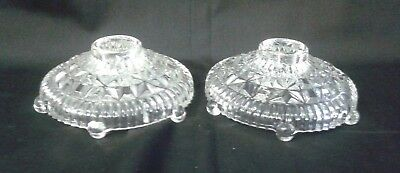 Antique Pressed Clear Glass Taper Candle Holders Round Pair Hobnail Feet