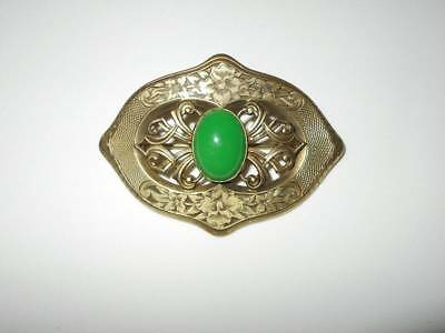 Antique Vtg Victorian Ornate Floral Brass Green Glass Jeweled Sash Pin Brooch