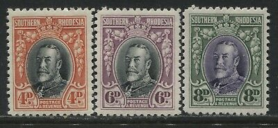 Southern Rhodesia KGV 1933-35 4d, 6d, and 8d all perf 11 1/2 mint o.g.