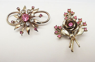 Antique Vintage 2 Pcs Pink Clear Rhinestone Crystal Gold Floral Pins Brooches