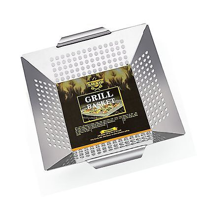 SMAID Vegetable Grill Basket - Large Stainless Steel Veg Grill Basket Works O...